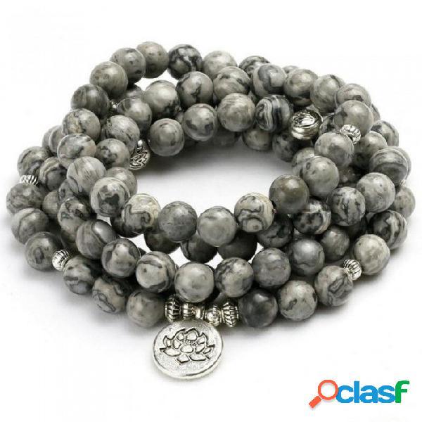 Energía 8mm perlas naturales luz gris mapa piedra con cuentas pulsera del encanto hombres mujeres brazalete amante regalo diseño joyería de la joyería del árbol de la vida encanto