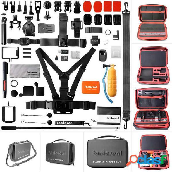 """Fantaseal aio-1350p kit de accesorios de cámara 50 en 1 con estuche impermeable de 13 """"para gopro - negro + rojo"""