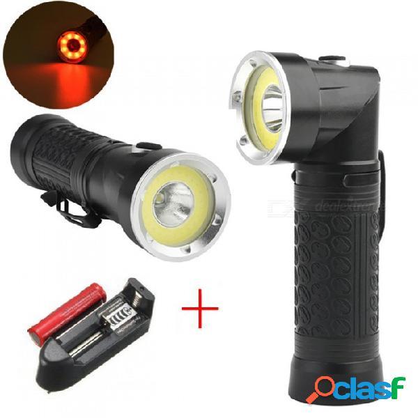 Linterna led de gran alcance 18650 t6 + cob 6000lm luz de antorcha multifunción de plegado de 90 grados para caza lámpara de búsqueda para acampar