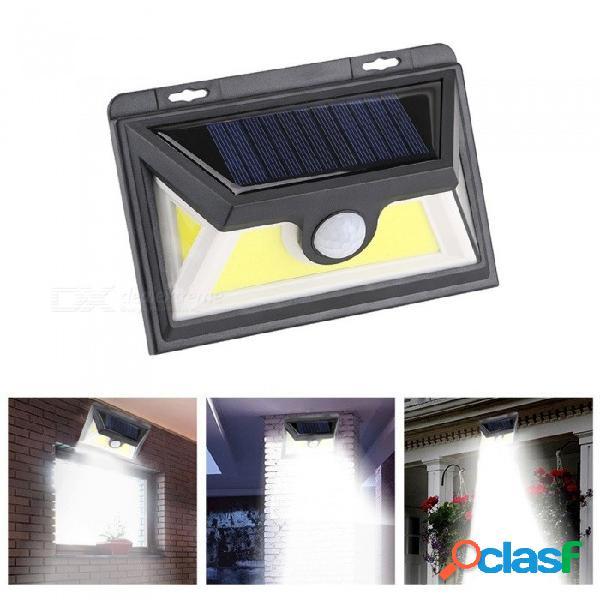 Luz solar de pared de panel solar para lámpara de sensor de movimiento + luz pir de 95 led led para patio de jardín blanco / negro