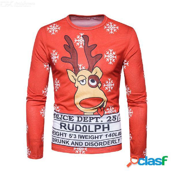 Moda casual para hombre camiseta de navidad 3d alces copo de nieve impresión o-cuello camisas de manga larga j-b7-dg22