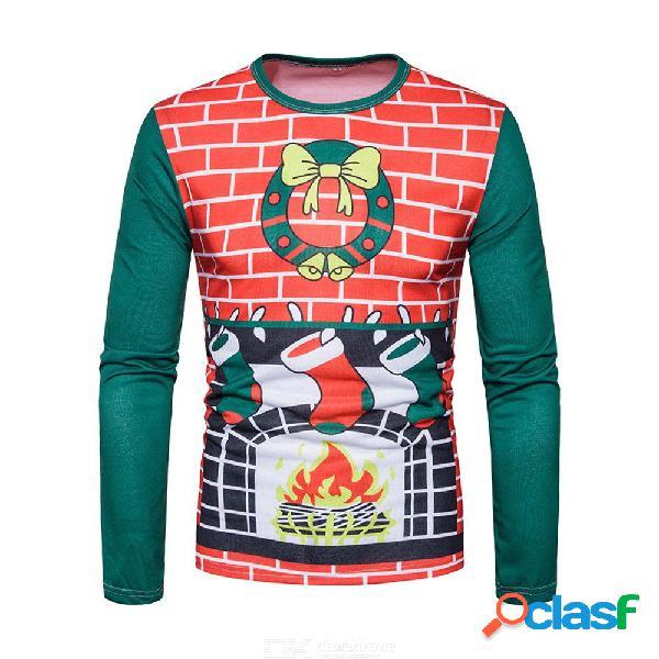 New fashion 3d printing men o-neck t shirt christmas printing top men's long sleeve shirts j-b7-dg21