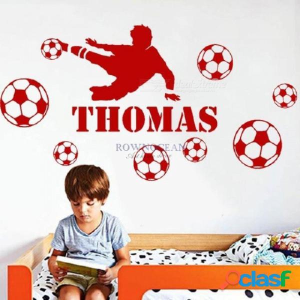 Nombre personalizado jugador de fútbol niños personalizado cualquier nombre dormitorio arte de la pared calcomanía etiqueta vinilo decoración del hogar extraíble medio
