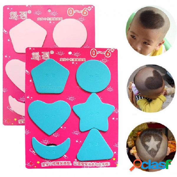 6 unids niños modelos de corte de pelo lindo barbero molinillo de pelo plantilla del corazón del triángulo luna estrella triángulo redondo herramienta de diseño de bricolaje para el bebé
