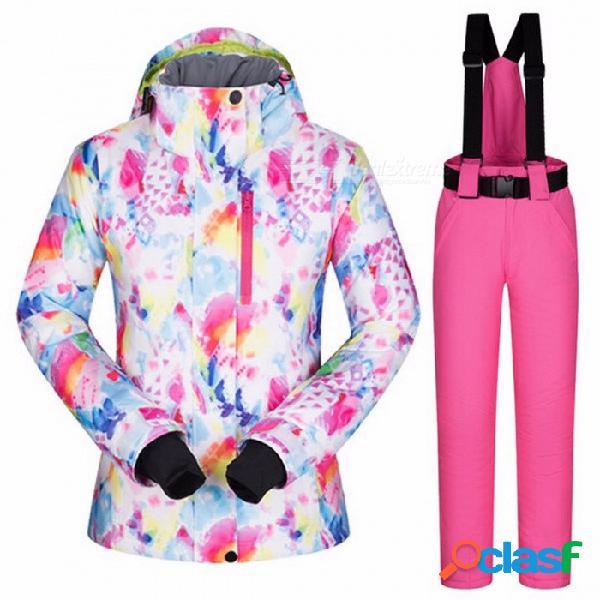 Conjunto de snowboard y pantalones de esquí de alta calidad de las mujeres, engrosada impermeable a prueba de viento traje de esquí femenino de invierno xl / hsj y negro