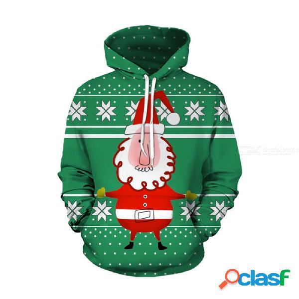 Otoño invierno para hombre sudaderas navideñas sudaderas con estampado de santa claus 3d deporte sueltos sudaderas con capucha de gran tamaño
