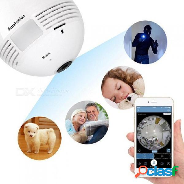 Universal 360 grados panorámico 960 p hd inalámbrico oculto mini adaptador de cámara wifi exquisita práctica fuerte función blanco