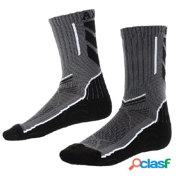 Calcetines antibacterianos de secado rápido alargados para hombres caxa para correr esquiar - negro + blanco + gris (par)
