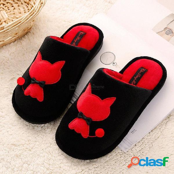 Cálido lindo amor gato zapatillas piso de madera antideslizante fondo suave interior par zapatillas para el hogar de invierno