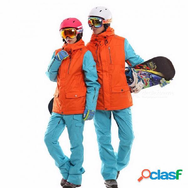 Conjunto de snowboard a prueba de agua a prueba de viento traje de esquí transpirable mujeres hombres snowboard chaquetas de esquí de montaña ropa conjunto xxl / hombres negro