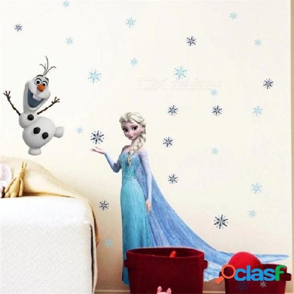 Dibujos animados de nieve congelada y colores de hielo elsa princess olaf snow habitación de niños pegatinas de pared de pvc material a