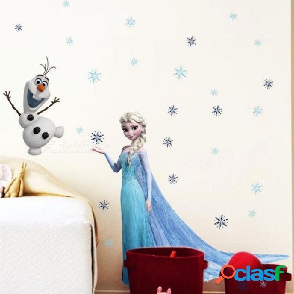 Pegatinas de pared congeladas de dibujos animados elsa princesa olaf pegatinas de pared etiquetas para sala de estar, habitación para niñas, dormitorio, habitación para niños 45x60cm