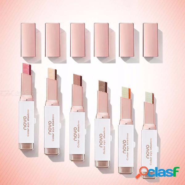Professional double color gradient velvet eye makeup shadow stick waterproof shimmer metallic eyeshadow