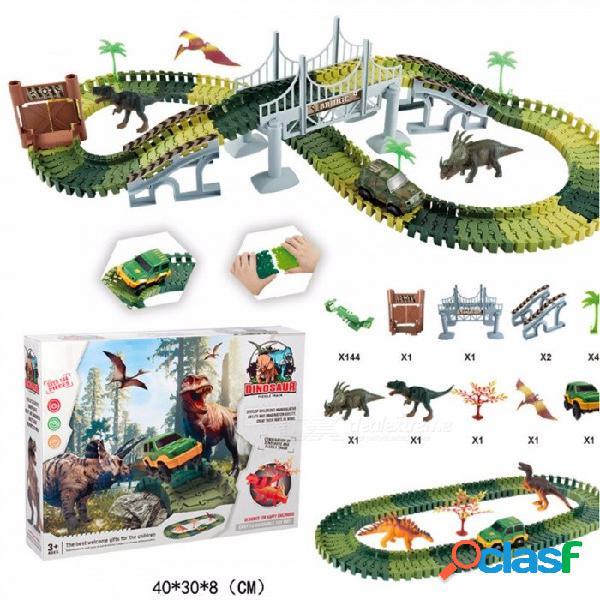 144pcs de imitación militar diy coche eléctrico de la pista del dinosaurio de montaje, bloques de construcción de regalo de juguete para niños niños ejército verde