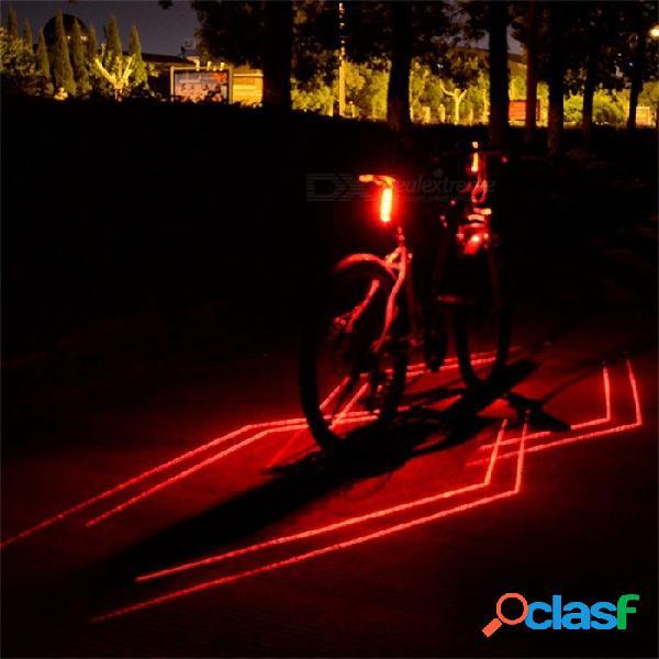bicicleta de noche al aire libre bicicleta lámpara de luz trasera LED luz roja láser línea de advertencia bicicleta luz trasera USB recargable rojo