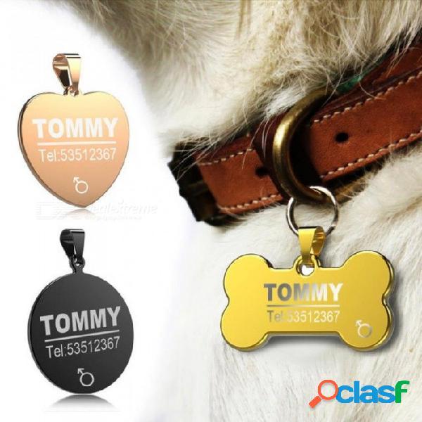 Etiqueta de identificación de perro de acero inoxidable anti-perdida grabado gato mascota collar de perro cachorro accesorios nombre de teléfono etiquetas de identificación de mascotas etique
