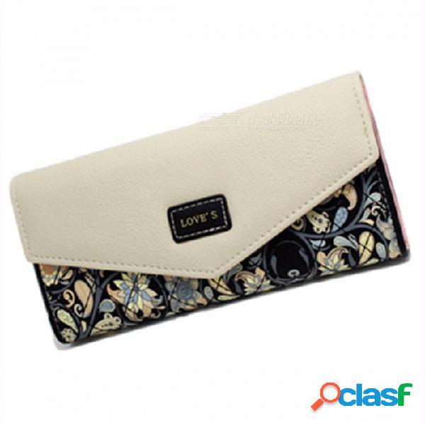 Forma de sobre billetera de cuero para mujer, 3 carteras plegables con estampado de flores, monedero largo para la sandía de señora