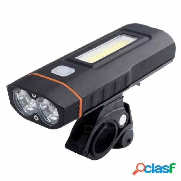 Luz delantera de la bicicleta faro, luz trasera usb recargable, manillar led ciclismo linterna de seguridad antorcha de bicicleta negro