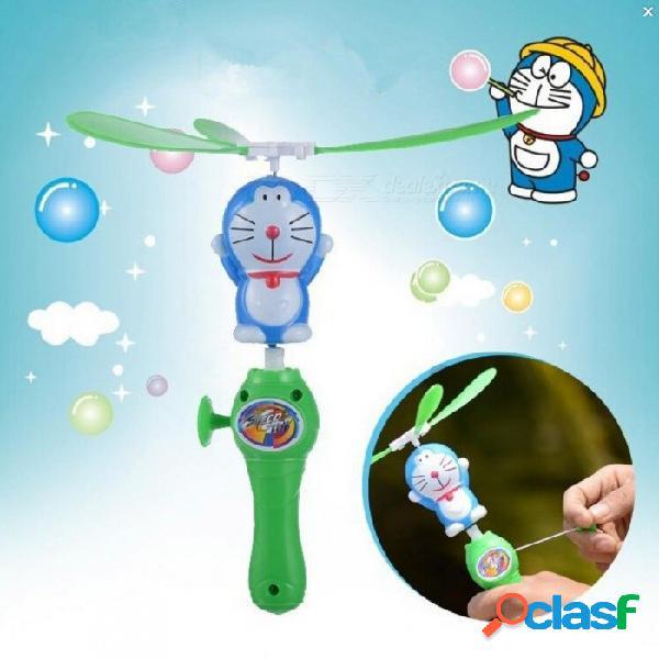 Niños asombrosos juguete al aire libre mano empujar plástico libélula helicóptero volar doraemon flechas helicóptero volar flecha paraguas navidad verde + azul