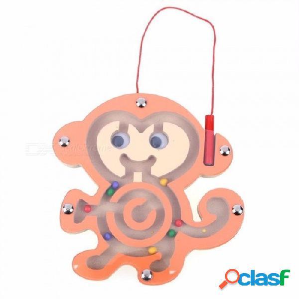 Niños laberinto magnético juguete niños rompecabezas de madera juego de juguete niños temprano educativo rompecabezas teaser intelectual marrón