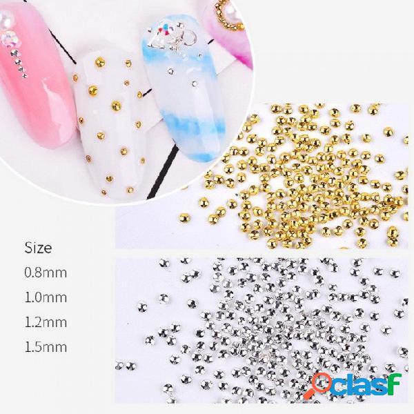 1000 unids diy mini metal remache clavo estrella luna joyería, 3d pequeñas perlas irregulares de uñas para decoración de uñas blanco