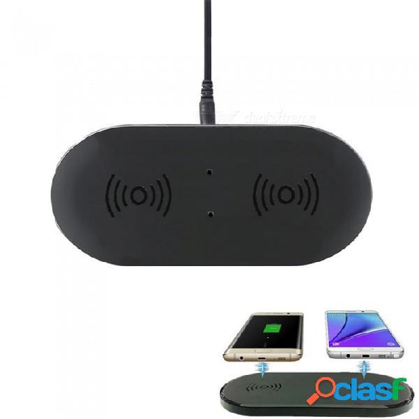 Almohadilla de cargador inalámbrico qw dual cwxuan con transmisor dual para iphone x, 8, 8 más samsung galaxy s9 s8 - (enchufe de la ue)