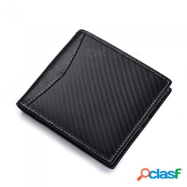 La cartera rfid de jin bao lai de fibra de carbono bloquea la cartera de cuero genuino de los hombres, el portatarjetas masculino con bolsillo para monedas