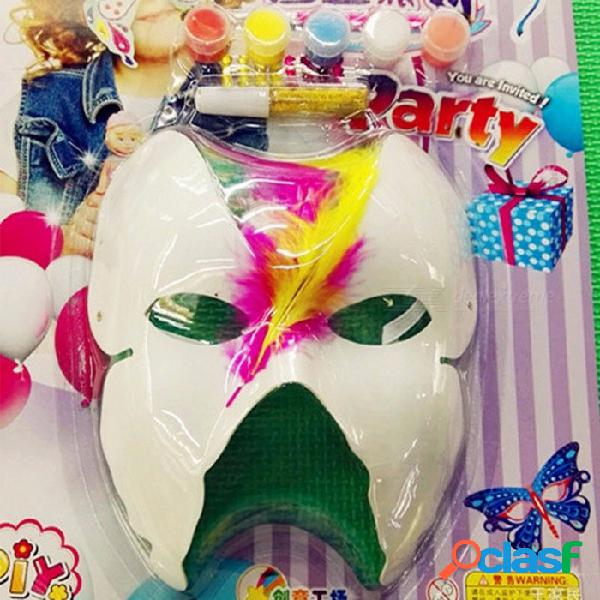 Máscara blanca máscara pintada a mano media cara máscara halloween papel en blanco máscara diy con pigmento regalos de navidad para niños blanco