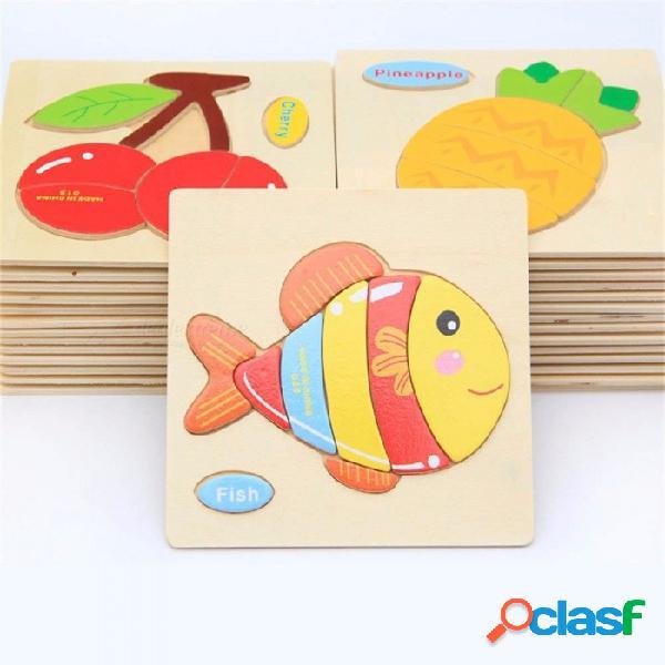 Niños de madera de dibujos animados de juguetes de animales tráfico tridimensional rompecabezas infantil de la fuerza infantil juguete educativo para niños multicolor