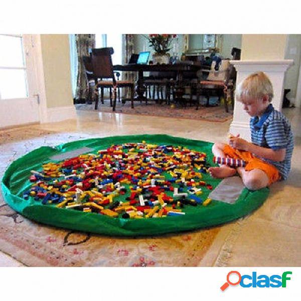 Niños portátiles bolsa de almacenamiento de juguete y play mat lego juguetes organizador caja de basura xl moda prácticos bolsos de almacenamiento verde / xl