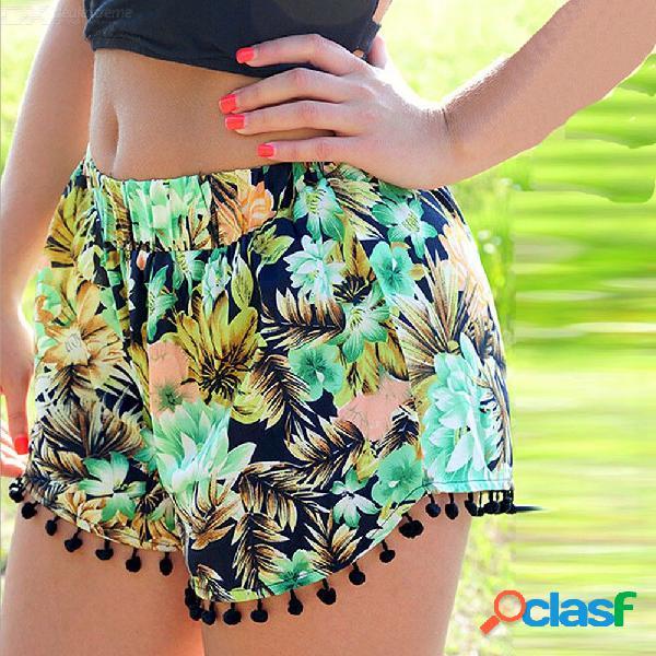 Verano mujer pantalones cortos borla estampado de flores cintura elástica pantalones de playa ropa de moda