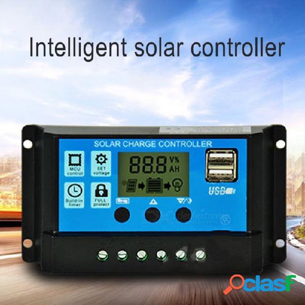 30a 12v 24v controlador de carga solar de trabajo automático con pantalla lcd, doble cargador de panel de celda solar usb negro