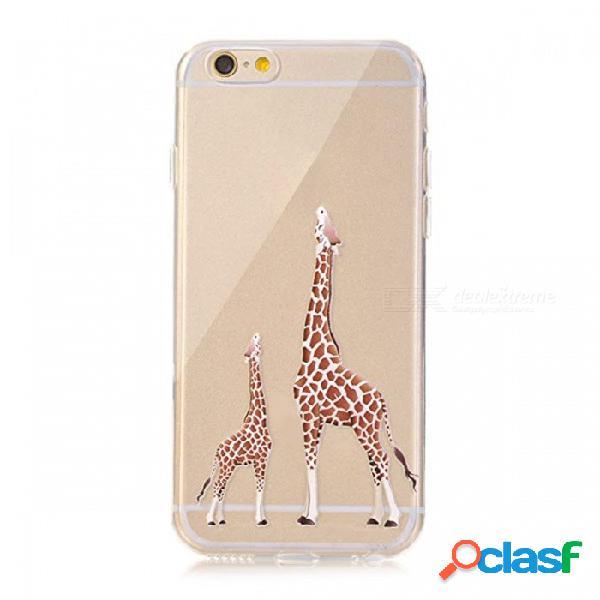 Funda de silicona suave de silicona tpu de jirafa para iphone 8 plus x 10 6 6s 5 5s portefeuille se para iphone 7 casos accesorios con paquete