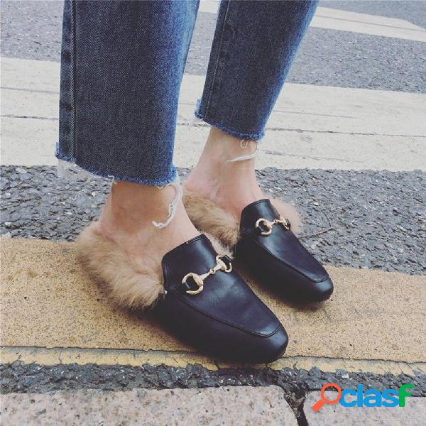 Zapatillas de piel para mujer zapatillas de casa de felpa resbalón en mula zapatos casuales planos hebilla británica mocasín