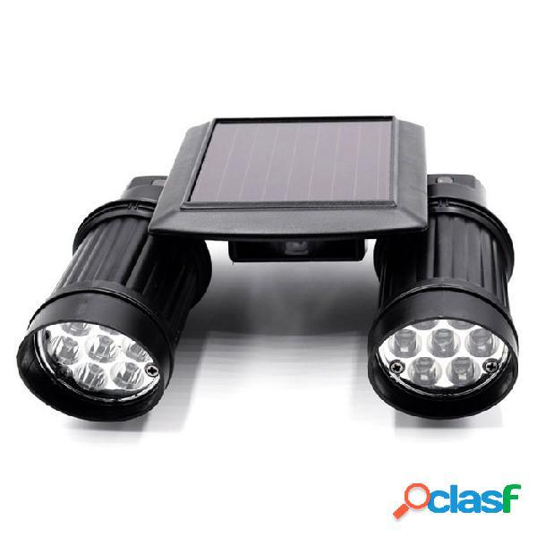 14 led de luz blanca 6500k 130lm pir detección de movimiento de inducción del cuerpo humano con doble lámpara solar - negro