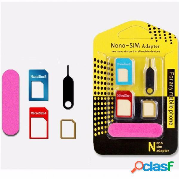 Adaptador de tarjeta sim nano de metal adaptador estándar de tarjeta micro sim manguito de corte con la bandeja expulsar aguja pin para iphone samsung