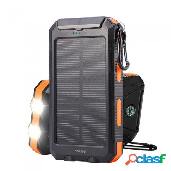 Batería externa de banco de energía solar 10000mah solar portátil impermeable al aire libre con luces led dobles y función de compás negro
