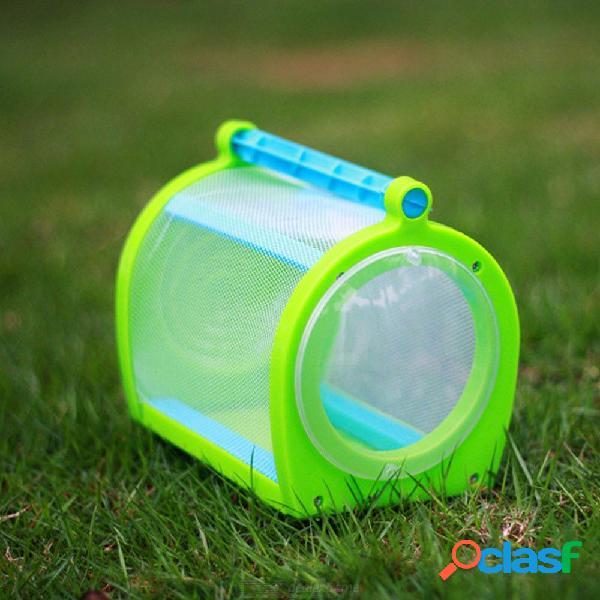 Caja de observación de insectos pequeños animales para niños portátil de plástico mariposa jaula de insectos caja de alimentación