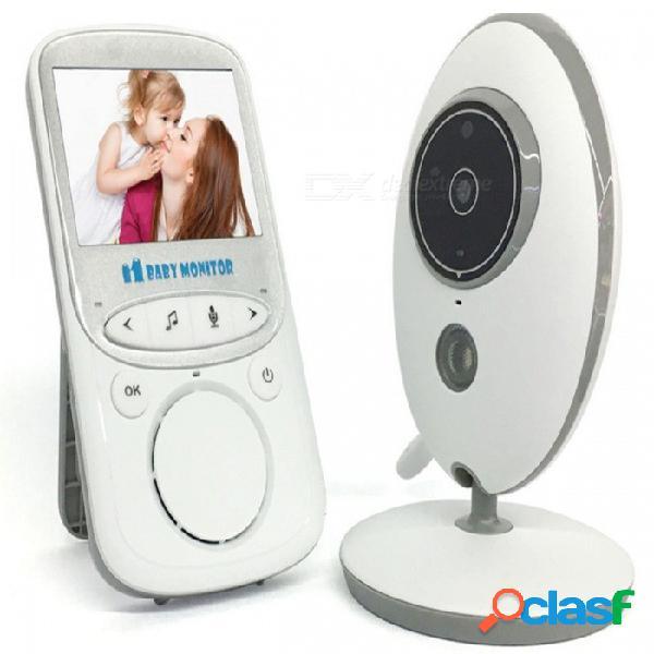 Cámara inalámbrica digital portátil del monitor del bebé 2.4g con el intercomunicador de voz, supervisión de la temperatura - blanco