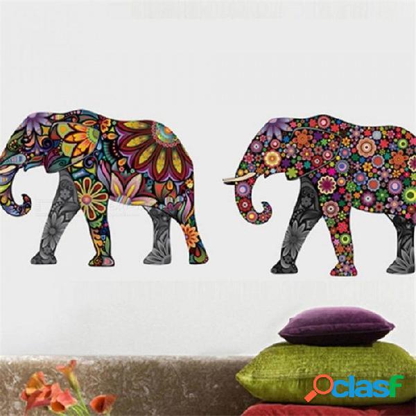 Elefante patrón de flores etiqueta de la pared calcomanía extraíble decoración del hogar papel pintado estilo étnico único pvc decoración de la sala elefante etiqueta de la pared