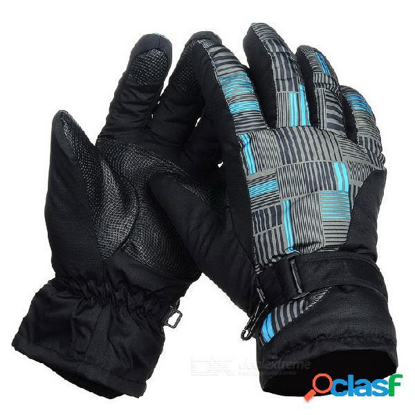 Exterior impermeable grueso caliente antideslizante dedos completos guantes - negro + multicolor (m / par)