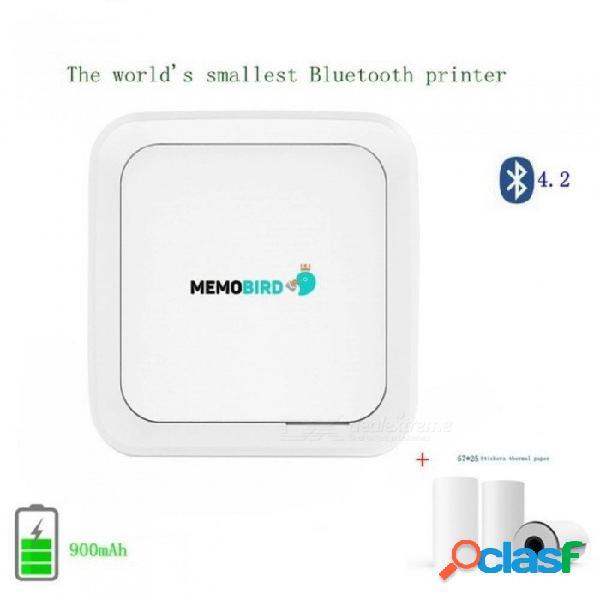 Impresora adhesiva portátil memobird g3 nueva bluetooth 4.2 mini-teléfono inalámbrico foto impresora de bolsillo usb + 3 rollos pegatinas combo