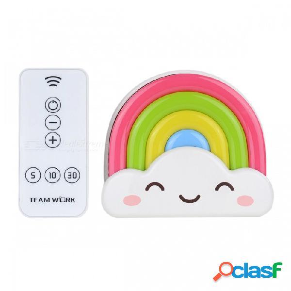 Mini luz nocturna arco iris niño luz nocturna regalo para niños sensor decoración para el hogar con sensor de control remoto blanco