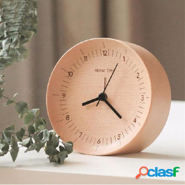 Original xiaomi mijia movimiento mudo reloj de madera reloj de sobremesa de madera relojes de mesa reloj para oficina xiaomi casa inteligente
