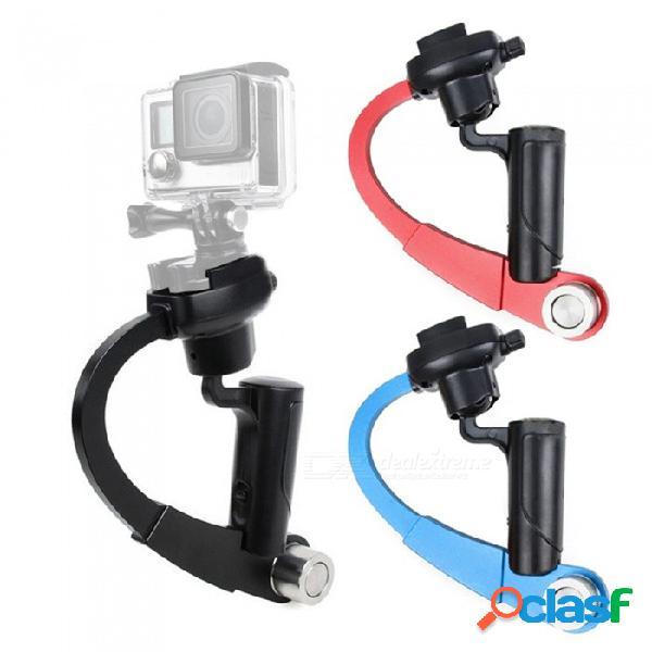 Xsuni mini estabilizador de video de cardán de metal portátil para la cámara de deportes gopro hero - negro + rojo