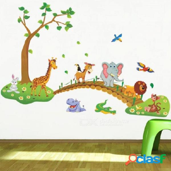 3d de dibujos animados selva salvaje árbol animal puente león jirafa elefante pájaros flores pegatinas de pared para sala de estar de los niños decoración de la historieta 3d etiqueta de la p