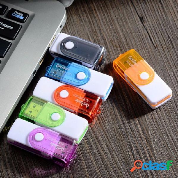 Adaptador de tarjeta micro sd lector de tarjeta de memoria giratoria 4 en 1 usb 2.0 para tarjeta tf sd m2 ms (color aleatorio)