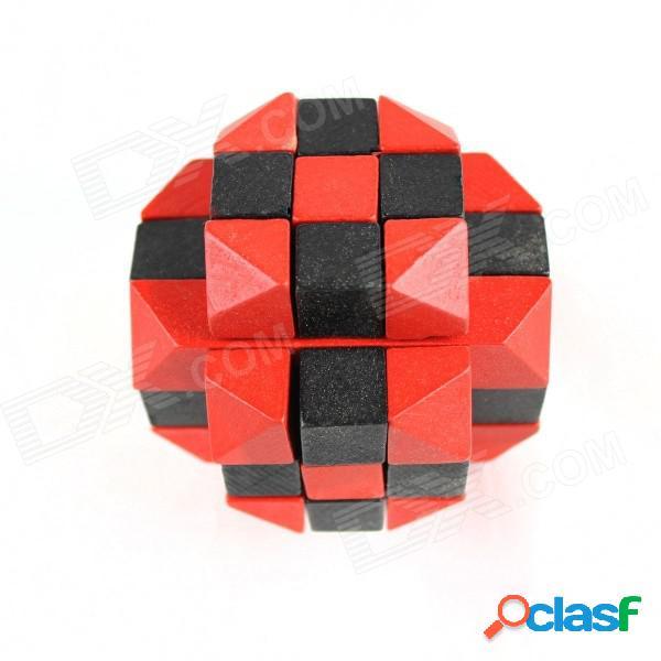 De madera de seis caras rompecabezas educativo desbloqueo juego de juguete para niños / niños - rojo + negro