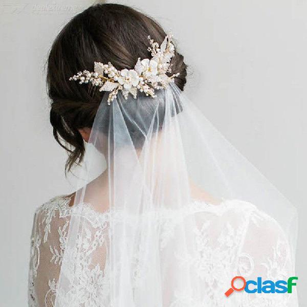 Hecho a mano perla flor diadema de boda peine nupcial tocados adorno para el pelo tocado de la novia decoración