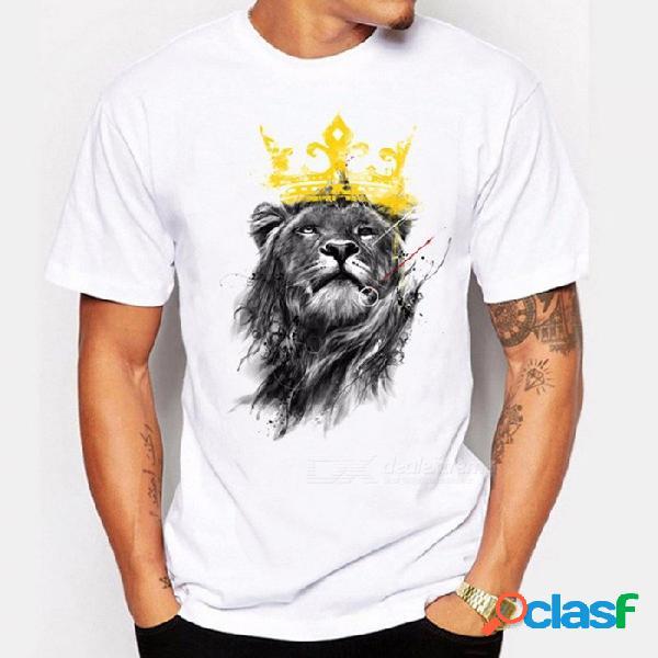 Modelos de explosión de los hombres camiseta personalidad rey león patrón salvaje moda manga corta camiseta blanca / m